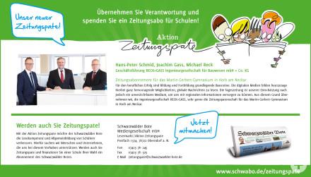 Zeitungspate Bildungspartnerschaft MGG Horb am Neckar