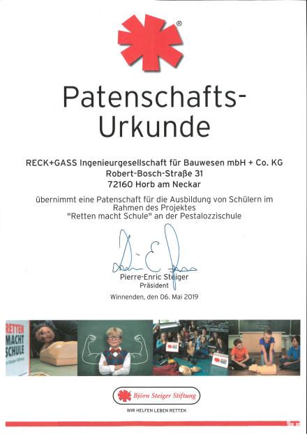 "Patenschaft Projekt ""Retten macht Schule"" Pestalozzischule Horb"