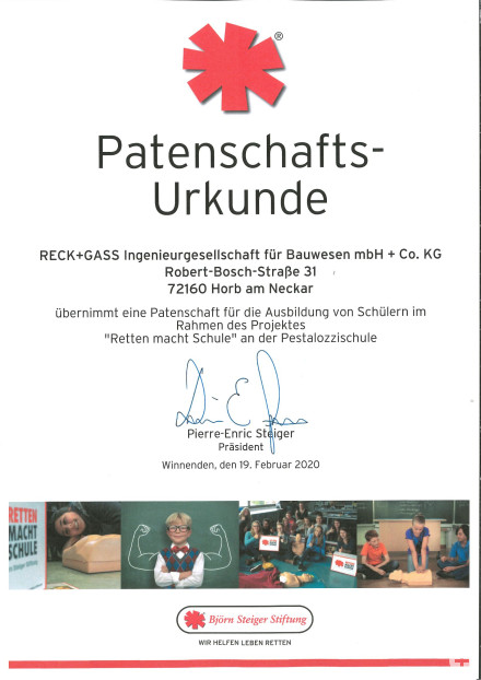 Patenschaft Ausbildung von Schülern an der Pestalozzischule Horb am Neckar